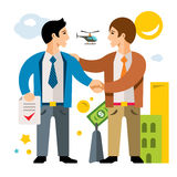 Vector Deal, Partnership, Agreement. Business. Flat style colorful Cartoon illustration. Two businessmen handshake in the city. Isolated on a white background vector illustration