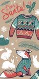 Dear Santa vertical banner vector illustration. Vector Dear Santa banner vertical design with cartoon fox and rabbits Stock Images