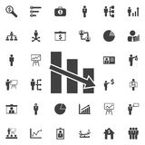 Vector declining graph icon. Business icons set Royalty Free Stock Images