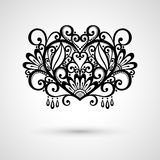 Vector Deco Floral Heart on Gray Background Royalty Free Stock Images