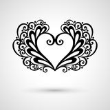Vector Deco Floral Heart on Gray Background Stock Photography