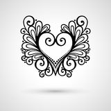 Vector Deco Floral Heart on Gray Background Royalty Free Stock Photo
