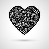 Vector Deco Floral Heart on Gray Background Stock Images