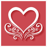 Vector Deco Floral Heart on Red Background Stock Photos