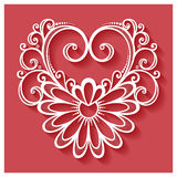 Vector Deco Floral Heart on Red Background Stock Photo