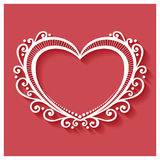 Vector Deco Floral Heart on Red Background Stock Image