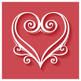Vector Deco Floral Heart on Red Background Stock Images