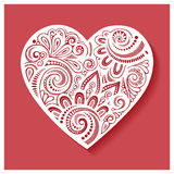 Vector Deco Floral Heart on Red Background Royalty Free Stock Photos
