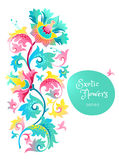 Vector decor with exotic flowers in Chinese style. Vector decor with fantastic exotic flowers in Chinese style. Luxury ornament. Bright colorful floral Royalty Free Stock Photo