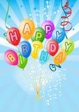Vector a decoração dos balões pronta para o aniversário Foto de Stock