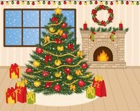 Vector Decorated Christmas Tree, Xmas Gifts and Fireplace Stock Photo