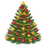 Vector Decorated Christmas Tree. Christmas Tree Vector Illustration. Vector decorated Christmas tree. Vector Christmas tree decorated with balls, red bows Royalty Free Stock Images