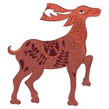 Vector decorated deer with nature elements Royalty Free Stock Photos