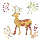 Vector decorated deer with nature elements. Hand drawn vector illustration. Scandinavian, Indian traditional style Royalty Free Stock Images