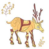 Vector decorated deer with nature elements. Hand drawn vector illustration. Scandinavian, Indian traditional style Stock Image