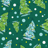 Vector Decorated Funky Christmas Trees Ornaments Royalty Free Stock Photo