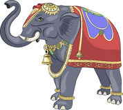 Vector. Decorated Indian elephant. Decorated bridal Indian elephant in a horse-cloth and ornaments Stock Photo