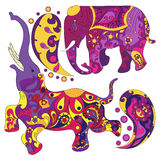 Vector decorated Indian Elephant. With multicolored ornament Stock Photos