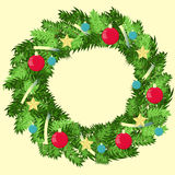 Vector decorated wreath. Happy new year illustration. Royalty Free Stock Photos