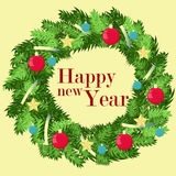 Vector decorated wreath. Simple greeting text in the center. Happy new year illustration. Stock Photos