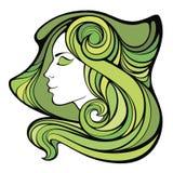 Vector decoratief de lenteportret van medicijnmanmeisje met groene lang Royalty-vrije Illustratie