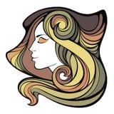 Vector decoratief portret van medicijnmanmeisje met kleuren lang haar i Vector Illustratie