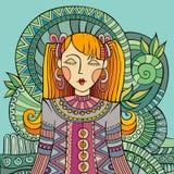 Vector decoratieve beeldverhaal jonge vrouw Stock Foto's