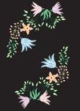 Vector decoratieve bloem op zwarte achtergrond Stock Afbeelding