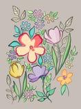 Vector decoratieve bloemachtergrond Stock Foto's