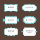 Vector decoratieve die etiketten voor verpakking, identiteit, emblemen, het brandmerken worden geplaatst Stock Foto's