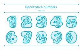 Vector Decoratieve Geplaatste Aantallen Stock Foto