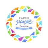 Vector decorating design made of paper planes Stock Photos