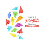 Vector decorating design made of paper planes Royalty Free Stock Photography