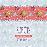 Vector decorating design made of robots Stock Photography