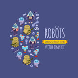 Vector decorating design made of robots Stock Image