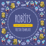 Vector decorating design made of robots Stock Images
