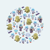 Vector decorating design made of robots Royalty Free Stock Photo
