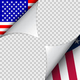 Vector decoration for fourth of July. USA Independence day decor. Ation. Paper corners with USA flags. Template for american holidays.  on transparent background Stock Images