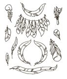 Vector Set of Sketch Plumage. Vector decoration graphics, Set of Sketch Plumage Royalty Free Stock Photography