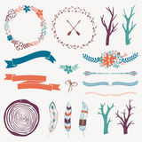 Vector decoration set with arrows, feathers, floral frames, borders, ribbons, branches Royalty Free Stock Photos