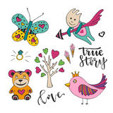 Vector decoration for valentines love day. Set of cute doodle design elements.  Royalty Free Stock Photography