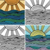 Abstract wave and sun background. Vector decorative abstract wave and sun ornamental .Set of four illustrations Royalty Free Stock Photo