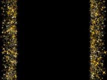 Vector decorative astral pattern design for card or banner. Glow. Ing golden star sparkles border or frame for text on black background vector illustration