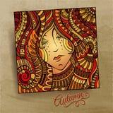 Vector decorative autumn beautiful girl portrait. Vector illustration Stock Photo