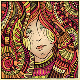 Vector decorative autumn girl portrait illustration Stock Photography