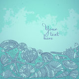 Vector decorative background with beautiful seashells. Royalty Free Stock Photography