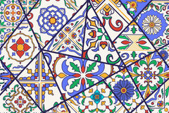 Vector decorative background. Mosaic patchwork pattern for design and fashion. Portuguese tiles, Azulejo, Moroccan ornaments Royalty Free Stock Images