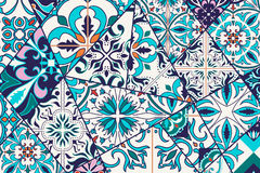 Vector decorative background. Mosaic patchwork pattern for design and fashion. Portuguese tiles, Azulejo, Moroccan ornaments Royalty Free Stock Photo