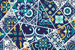 Vector decorative background. Mosaic patchwork pattern for design and fashion. Portuguese tiles, Azulejo, Moroccan ornaments Stock Images