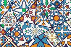 Vector decorative background. Mosaic patchwork pattern for design and fashion. Portuguese tiles, Azulejo, Moroccan ornaments vector illustration